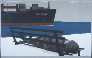 Alex Colville, Köln Express,1986, serigraph on paper, edition. Collection of the MacKenzie Art Gallery, gift of Rochelle Bos, 2000-63.
